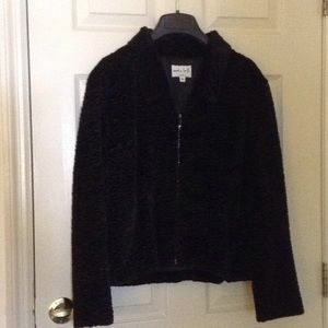 Fancy Women's black jacket satin limed. Medium.